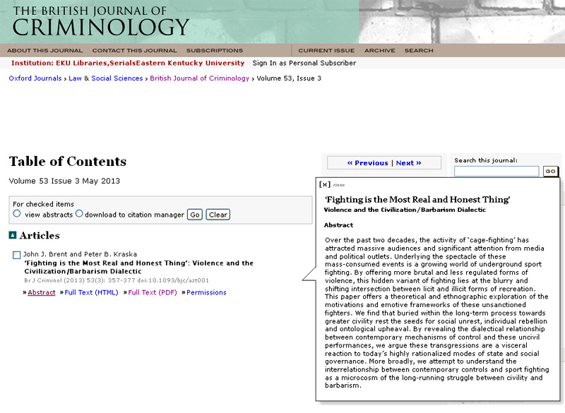 article resulting from graduate thesis published in british  article resulting from graduate thesis published in british journal of criminology
